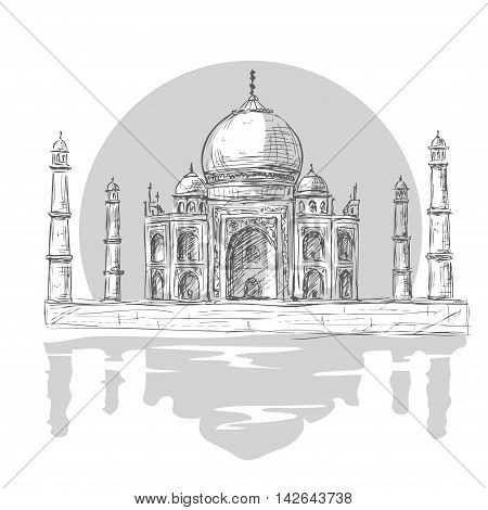 Taj Mahal Agra India in vintage hand drawn illustration