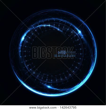 Abstract techno background with spirals and rays with glowing particles. Tech design. Lights vector frame. Glowing dots. blue, cerulean, cobalt, indigo, sapphire, ultramarine