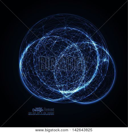 Abstract background with glowing spheres intersecting the global. Science and connection concept. The technology of the future. Vector backdrop. Atomic and molecular structure