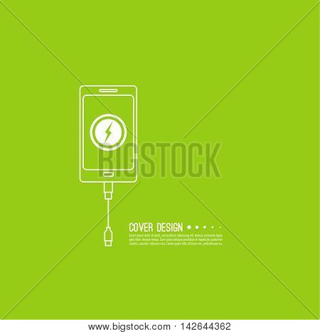 Abstract background with charge mobile phones. usb cable is connected to the smartphone. The concept  power charging. Vector icon