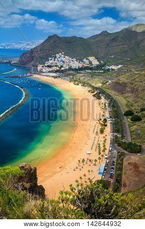 the famous beach near Santa Cruz de Tenerife - Playa de Las Teresitas Canary Islands Spain
