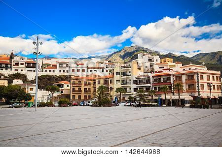 view of Candelaria major square a famous touristic town in Tenerife Canary islands Spain