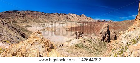 beautiful panoramic view of the Liano de Ucanca mountains - old volcano (Las Canadas (Teide) national park Tenerife