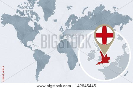 Abstract Blue World Map With Magnified England.