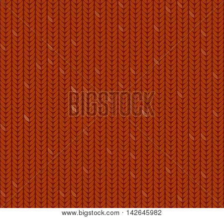 Orange seamless knitted pattern background imitation knitted fabric flat vector illustration