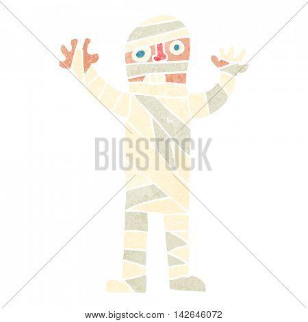 freehand retro cartoon bandaged mummy