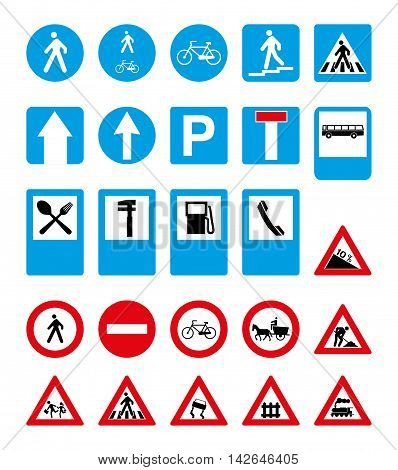 set of round and rectangular road signs. vector image