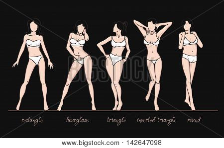 Women body shapes. What is your body shape. Vector illustration of girls' figures. Women in bathing suits.