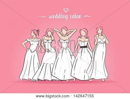 Vector illustration of five brides. There are brides in wedding dress standing on a pink background. The girls in various poses.