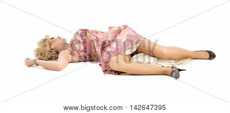 Woman In A Pink Dress Lying On The Floor