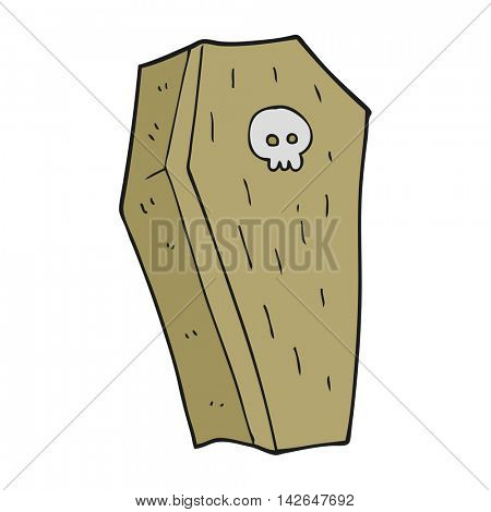 freehand drawn cartoon spooky coffin