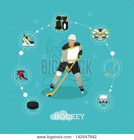 Vector illustration of ice hockey player. Man in sport uniform flat style design. Ice hockey objects, ice skates, helmet, puck, stick.