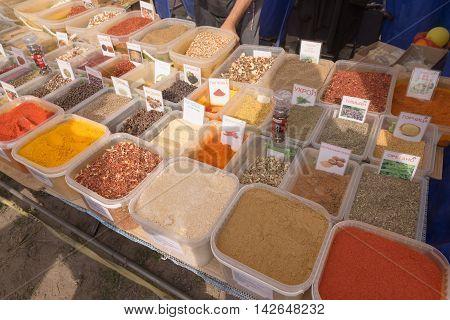 Slavgorod, Belarus - August 14: Fair Exhibition Of Handicrafts. Natural Seasonings For Cooking. Spic
