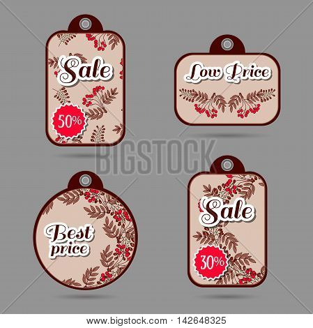 Set of price tags with hand drawn red berries. Vector illustration.