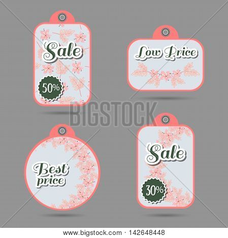 Set of price tags with hand drawn pink flowers. Vector illustration.