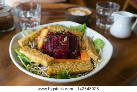 Tempeh Salad And Coffee.