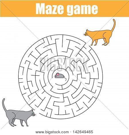 Matching children game, maze kids activity with cats and mouse. Who catch a mouse