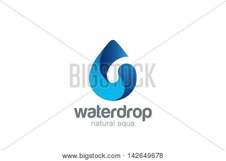 Water drop Logo design vector. Aqua droplet Logotype icon.