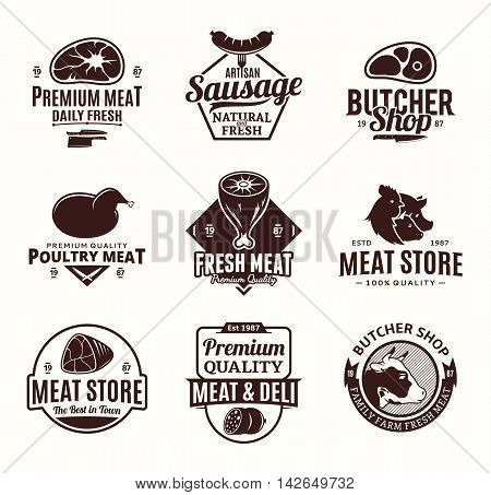 Set of butchery logo icons and design elements for grocery food labels and meat store branding and identity.