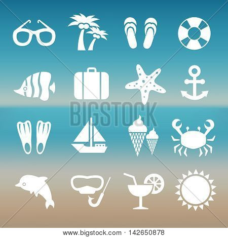 Summer rest traveling tourism vacation time icons. Set of summer travel icons, illustration of white silhouette travel icons