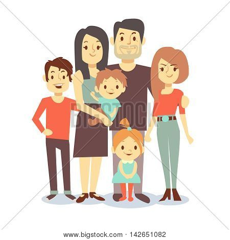 Cute cartoon family mom and dad, vector characters family in casual clothes, father and mother with children. Illustration of big happy family