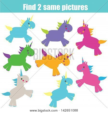 Find the same pictures children educational game. Find equal unicorns