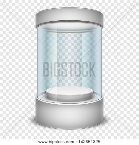 Empty glass shop cylinder showcase, display box in form cylinder with transparent glass. Mock up made from glass for modern shop, vector illustration