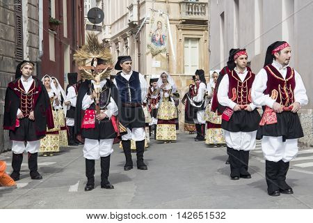 CAGLIARI, ITALY - May 1, 2013: 357 ^ Religious Procession of Sant'Efisio - Sardinia - group of people in traditional Sardinian costume