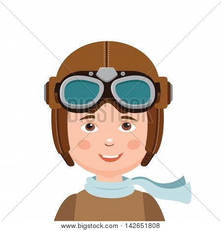 Young Boy Pilot Isolated In White Background. Retro Vector Illustration. Boy Pilot Hat.
