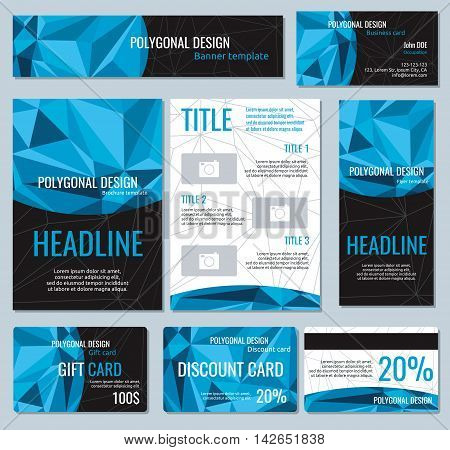 Flyers, banners, brochures and cards with polygonal elements. Vector templates card with space for headline, illustration gift card and brochure for business