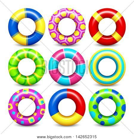 Colorful rubber swim rings vector set for water floating. Swimming circle lifesaver collection for child safe