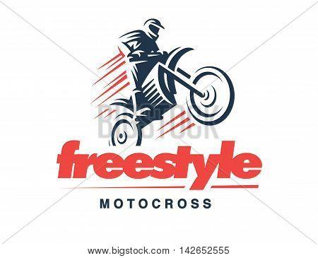 Motorcycle logo illustration on white background, emblem