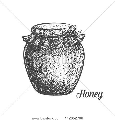 Decorative bank honey monochrome vector illustration. Decorative honey n old style for the design natural healthy food production Honey , labels cards and brochures