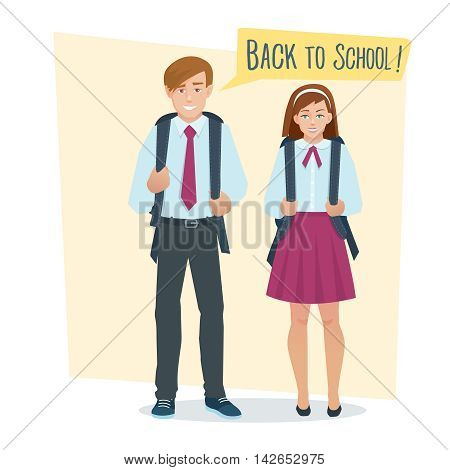 couple of students girl and boy in school uniform with school bag