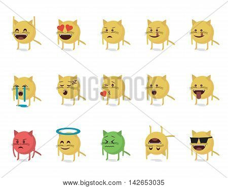 Set of cat emoticon vector. Emoji vector. Smile icon set.  Emoticon icon web.