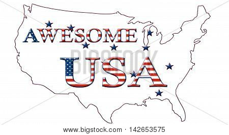 Awesome USA, Stars And Stripes Poster 11A
