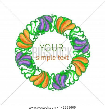 watercolor colorful round ornament in Art Nouveau style on a white background