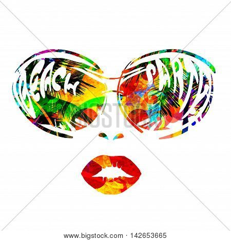 face of woman with sunglasses with reflection of palm trees sun and lettering - beach party for posters invitations disco. vector