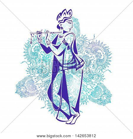 Lord Krishna Plays His Flute against the background of the mandala