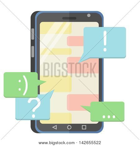 flat vector illustration with a chat on the mobile phone