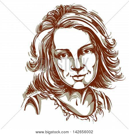 Graphic vector hand-drawn illustration of white skin attractive melancholic lady with stylish haircut.