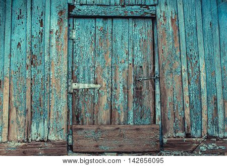 Old abandoned wooden painted in blue cracked rotten door with a hook from the hut