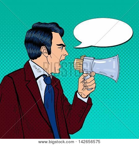 Angry Businessman Shouting in Megaphone. Pop Art Vector illustration