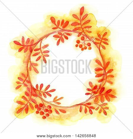 hand painted round autumn floral frame. Watercolor painting.
