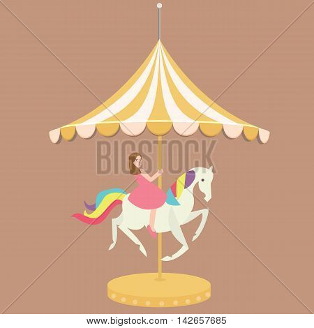 woman girl riding horse carousel cartoon flat carnival illustration vector