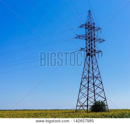 Electricity Pylon - UA standard overhead power line transmission tower.