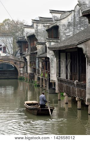 Canal of Wuzhen. Wuzhen - historic scenic town part of Tongxiang located in northern Zhejiang Province China