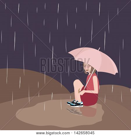 woman in rain sad under umbrella vector dark