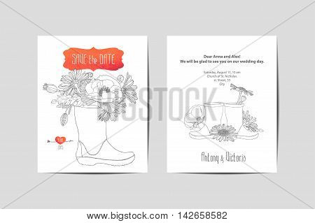 Vector wedding invitation. Linear flowers in rubber boots