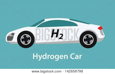 hydrogen fuel cell car eco environment friendly zero emission vector